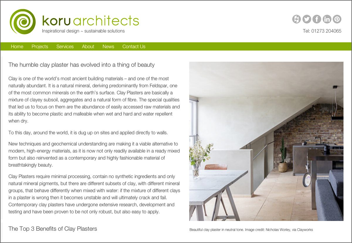 Koru architects super natural materials clayworks for Sustainable interior design products