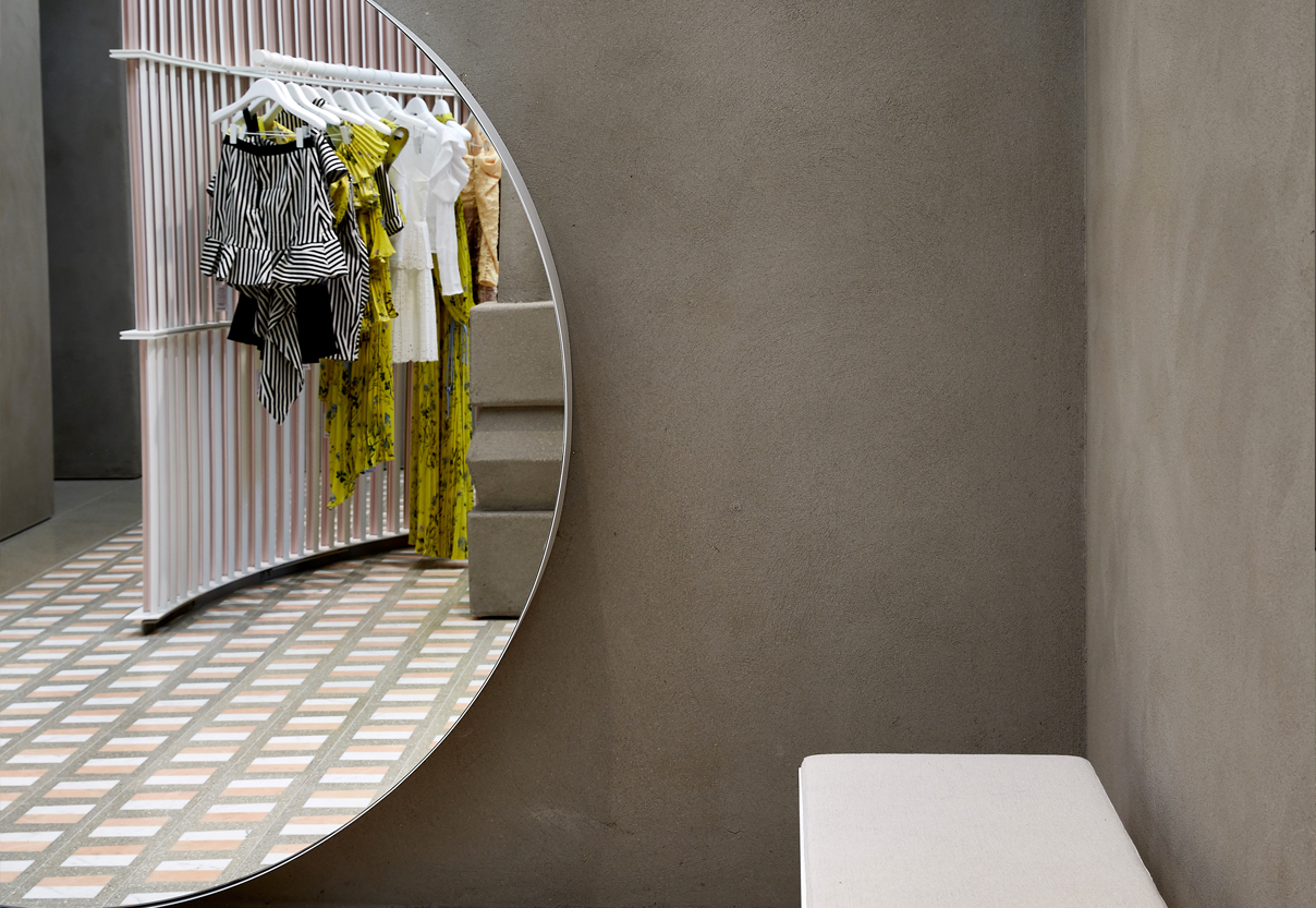 Sustainable Fashion And Retail Design Utilises Textured Polished Concrete  Effect Plaster Finishes By Clayworks.