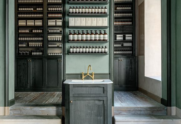 Clayworks wall finishes for Aesop Bordeaux.